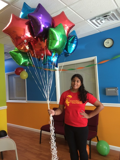 Math Genie teacher with Balloons