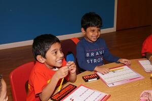 Math Genie students have fun using their abacus and challenge themselves with mental math games