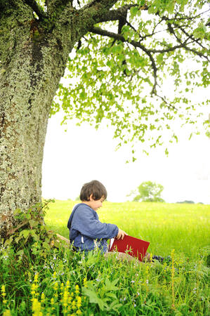 child happily reading classic under a tree