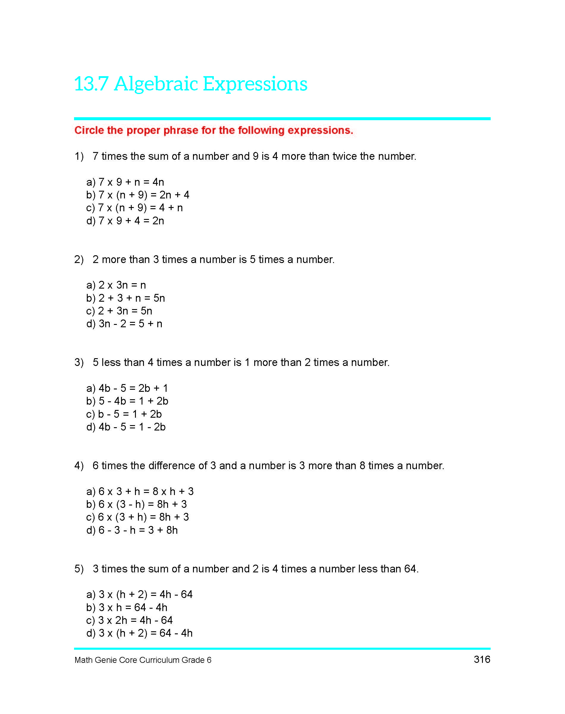 Sixth Grade course & Sample Lessons Math Genie Common Core PARCC